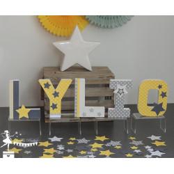 Sachet de confetti étoile jaune, gris et blanc