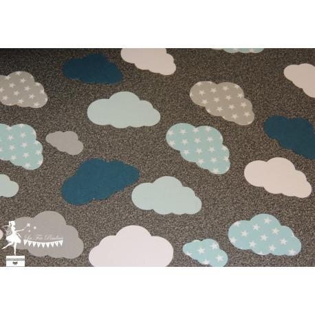 Sachet de confetti nuage bleu pastel gris et pétrole