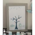 Arbre à empreintes thème étoile nuage et oiseau bleu pastel, gris et pétrole