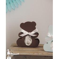 Boite Nounours chocolat et ruban blanc