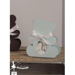 Boite Nounours bleu pastel nacré et ruban blanc