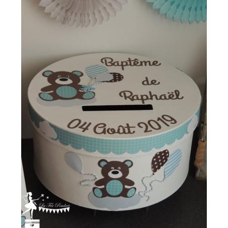Urne ESSENTIELLE Nounours et ballons chocolat, bleu pastel et blanc