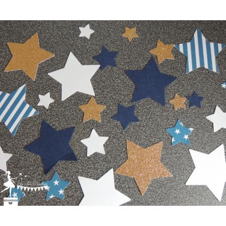 Sachet de confetti étoile bleu marine, doré et blanc