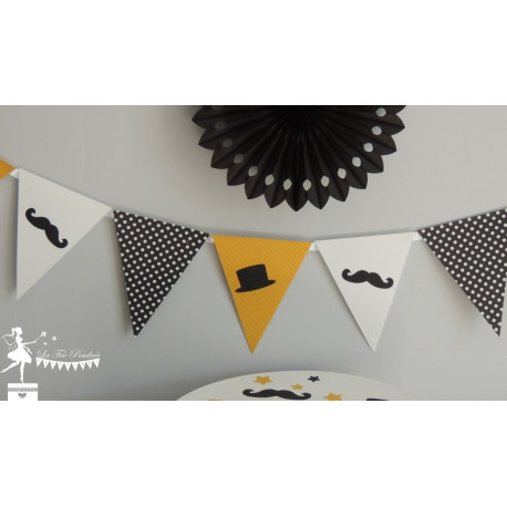 Guirlande de fanions , blanc et jaune décor dandy