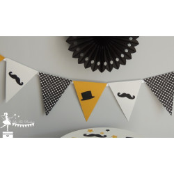 Urne ESSENTIELLE Dandy, moustache, noir, blanc et jaune