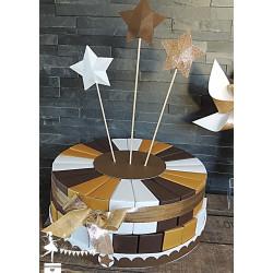 Urne CLASSIQUE étoile chocolat blanc neigeux et doré