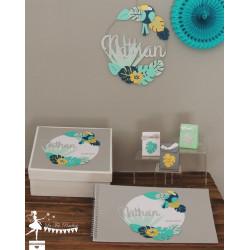 Cercle décoré prénom thème Tropical déco toucan