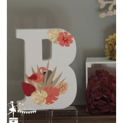 1 Initiale 30 cm  thème Flamand rose