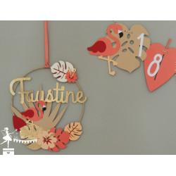 Cercle décoré prénom thème Flamant rose
