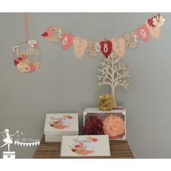 Urne ESSENTIELLE Flamant rose corail, abricot, touche bordeaux et doré