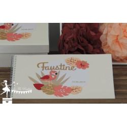 Livre d'or ALOHA Thème Flamand rose corail, abricot et doré
