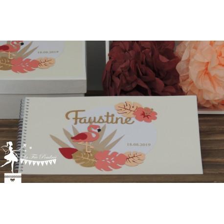 Livre d'or ALOHA Thème Flamant rose corail, abricot et doré