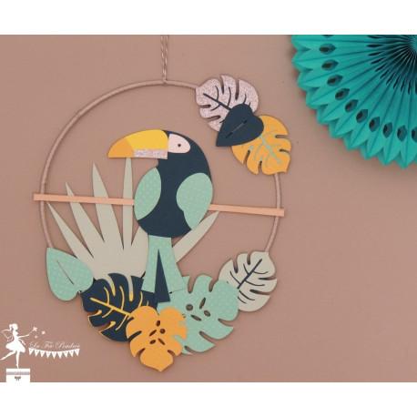 Cercle décoré thème Tropical déco toucan