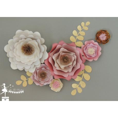 Décoration fleurs 3D Blanc, rose et doré