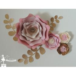 Décoration fleurs 3D Rose, ivoire et doré LOT de 4