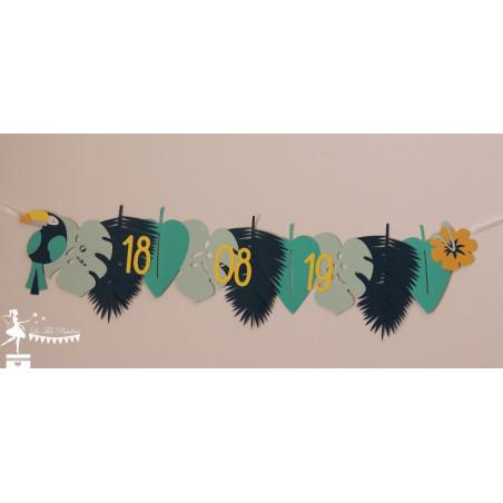 Guirlande de fanions à thème TROPICAL Toucan