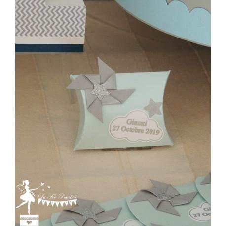 Boite Clothilde bleu nacré gris étoiles, nuage et moulin