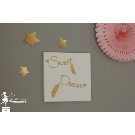 Tableau décoratif Sweet Dream thème plume doré et rose pailleté