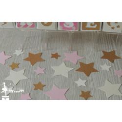Sachet de confetti étoile rose, ivoire et doré