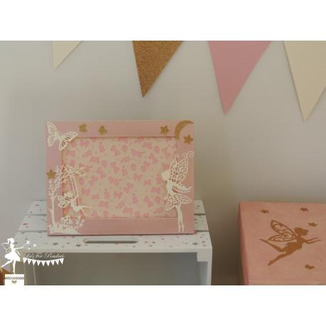 1 Cadre décoratif thème Fée étoile et papillon rose, ivoire et doré