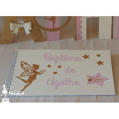 Livre d'or ESSENTIEL Fée Papillon Etoile rose ivoire doré& blanc