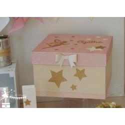 Boîte à souvenirs Fée Papillon Etoile rose, ivoire et doré
