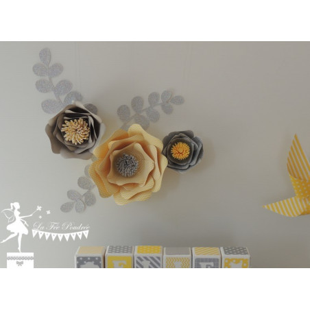 Décoration fleurs 3D jaune, gris et argent LOT de 3