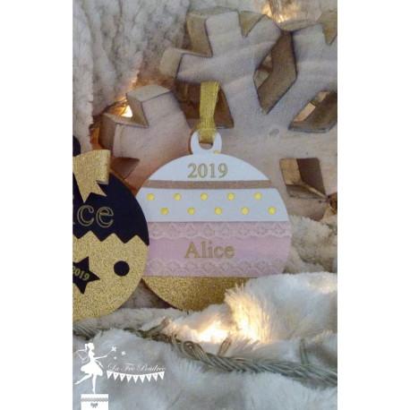 Boule bois Mon 1er Noël rose poudré, blanc et doré