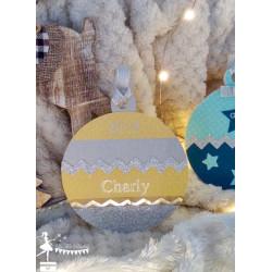Boule bois Mon 1er Noël jaune, gris et argent