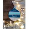 Boule bois Mon 1er Noël pétrole, turquoise et argent