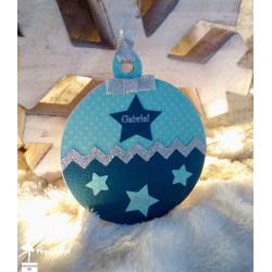 Boule bois Mon 1er Noël étoiles pétrole, turquoise et argent