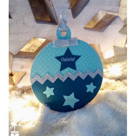 Boule bois Mon 1er Noël étoile pétrole, turquoise et argent