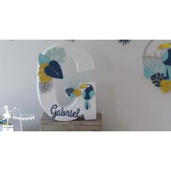 1 Initiale 30 cm avec prénom thème Tropical toucan