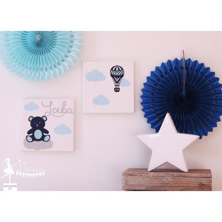 LOT de 2 tableaux décoratifs Nounours, nuage et montgolfière