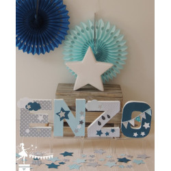 1 Lettre décorée 12cm Etoile nuage bleu gris marine