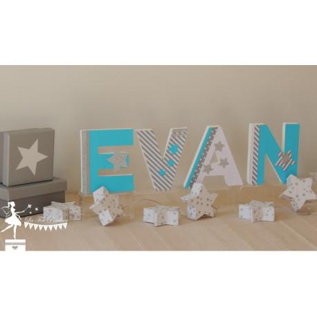 1 Lettre décorée 12cm étoile turquoise gris et blanc