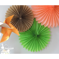 Lot de 3 pompons dentelle orange, vert anis et kraft