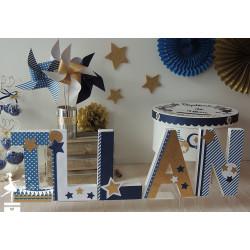 Urne CLASSIQUE étoile bleu marine, doré et blanc