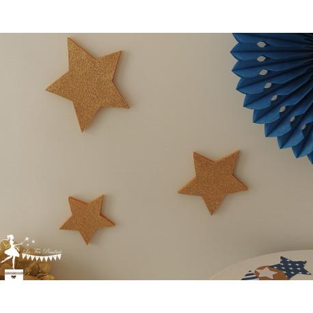 Lot de 3 étoiles bois doré