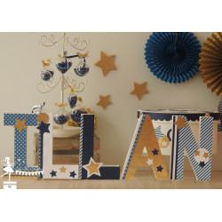 1 Lettre décorée 20 cm Etoiles bleu marine doré & blanc