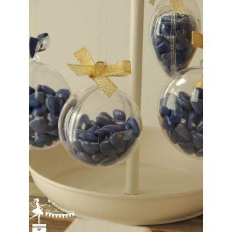 Boîte à dragées transparente boule 5cm