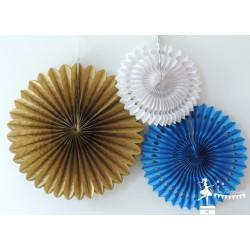 Lot de 3 pompons dentelle bleu marine blanc et doré