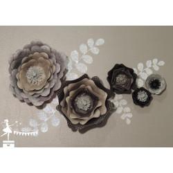 Décoration fleurs 3D Noir, gris et  argent LOT de 5