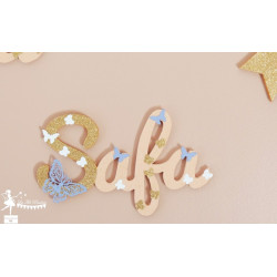 Prénom bois stylisé - Plaque de porte Papillon Rose pastel, mauve, blanc et doré