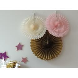 Lot de 3 pompons dentelle rose pastel ivoire et doré