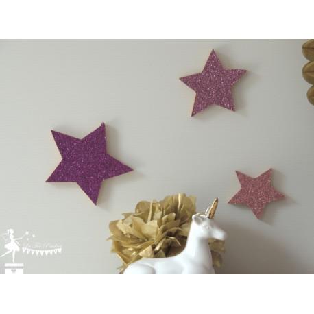 Lot de 3 étoiles bois fuchsia rose pastel et rose gold pailleté