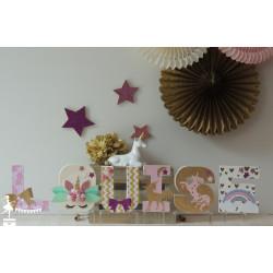 Lettre décorée 12cm thème licorne rose ivoire et doré PRIX UNITAIRE