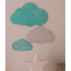 Lot de 3 nuages bois bleu azur et gris argenté