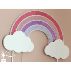 Déco murale bois arc en ciel et nuages rose blanc argentia