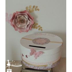 Urne SPECIFIQUE blanche thème Liberty dentelle rose et ruban doré